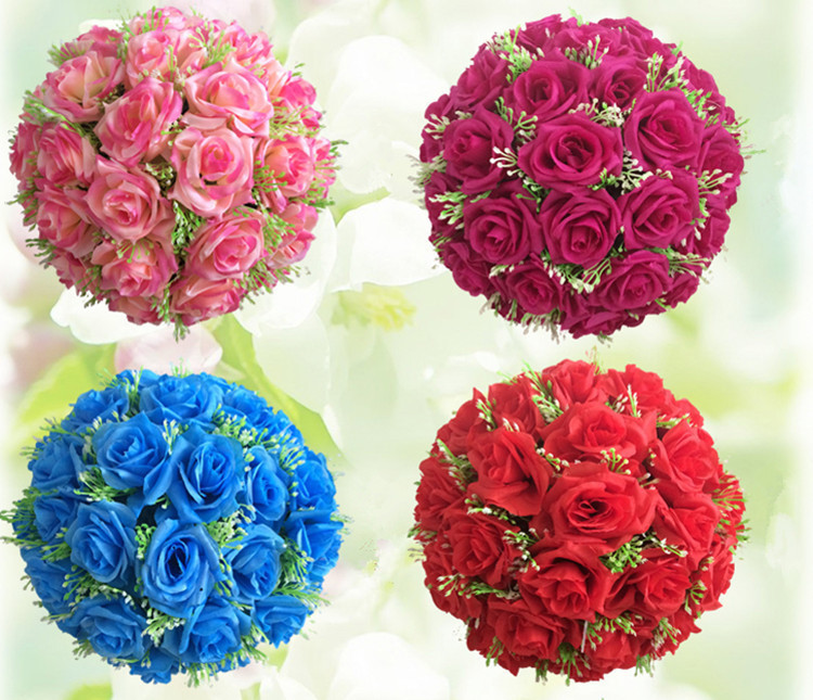 "7 Inches White Flower Ball: 12""(30cm) Artificial Silk Flower Ball Centerpieces White"