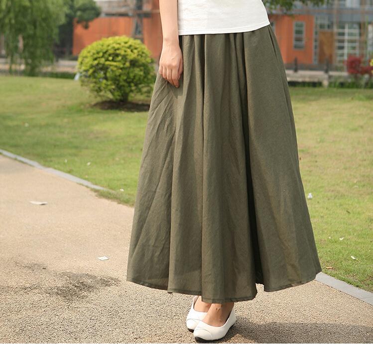 10 сплошной цвет новые длинные юбки женская богемной случайные упругие талии 2016 белья плюс размер большой маятник окружности линии хлопка юбка