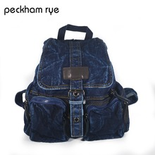 PECKHAMRYE School Bagpack for Girls denim backpack Women Backpacks Denim Children Kids School Bag Backpack jeans bag(China (Mainland))