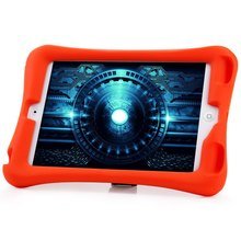 2016 3 colors High Quality Hot Sale 3D Protective Back Cover Silicone Material Case with Adjustable Stand for iPad Mini 3 2 1(China (Mainland))