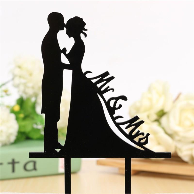 Bride Groom Silhouette Plastic Unique Cake Decoration Accessory Black Acrylic Romantic Kissing Wedding Cake Stand Topper(China (Mainland))