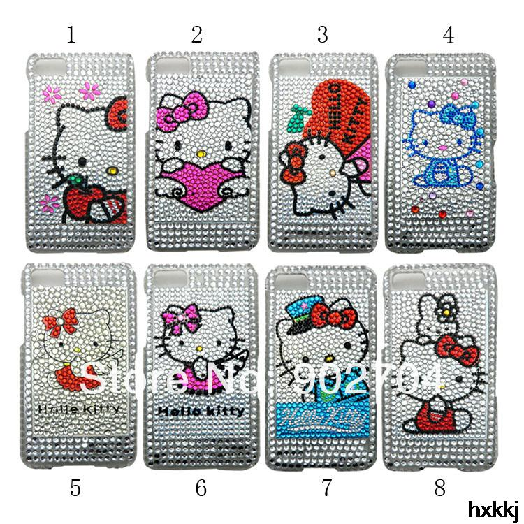 50pcs/lot New Arrive hello kitty bling rhinestone crystal pattern cell phone case for Blackberry Z10(China (Mainland))