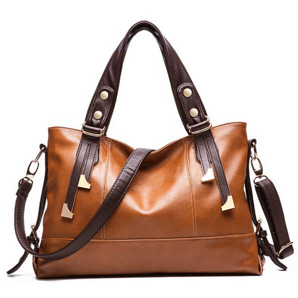 2015 Hot European American style Oil wax Genuine Leather Cowhide Women handbags Fashion Women shoulder bags +15 Colors(China (Mainland))