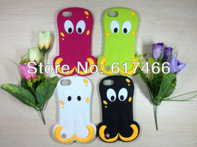 wholesale 3pcs/lot Cute 3D rubber Soft Silicone Cute Deep-sea cuttlefish Octopus Back Cover Skin Case For ipod touch itouch 5th
