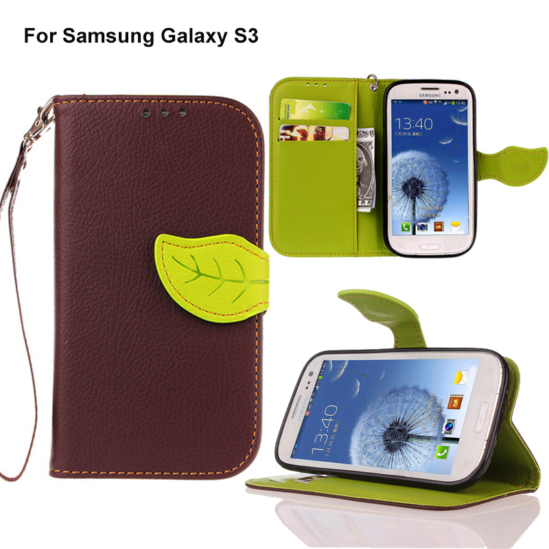 Luxury Leather Case For Samsung Galaxy S3 i9300 Flip Caso Capa Wallet Style Stand Phone Bag Cover For GALAXY S3 With Leaf Buckle(China (Mainland))