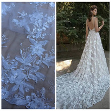 Off White 3D flowers sequins on netting/mesh embroidered wedding/ evinging/show dress lace fabric by yard(China (Mainland))