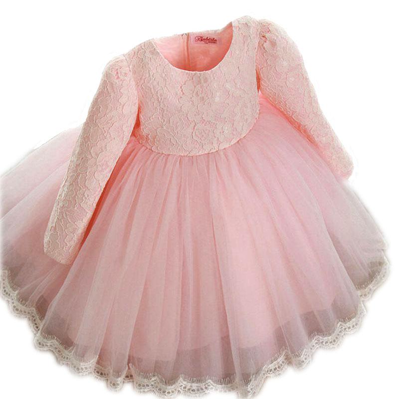2016New winter Princess Girls Party Dresses for Christmas Flower Belt Pink Tulle Girls Long sleeve Wedding Dress kids girl dress(China (Mainland))
