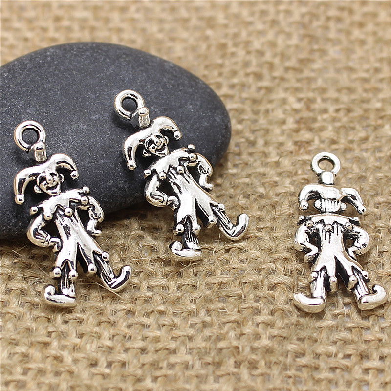 (40 pieces/lot) 12*24mm Antique Silver Metal Alloy Droll Clown Charms Jewelry Pendants D0538(China (Mainland))