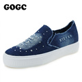 GOGC 2016 Designer Denim Shoes with Rhinestone Crystal Comfortable Thick Bottom Canvas Shoes Women Casual Shoes