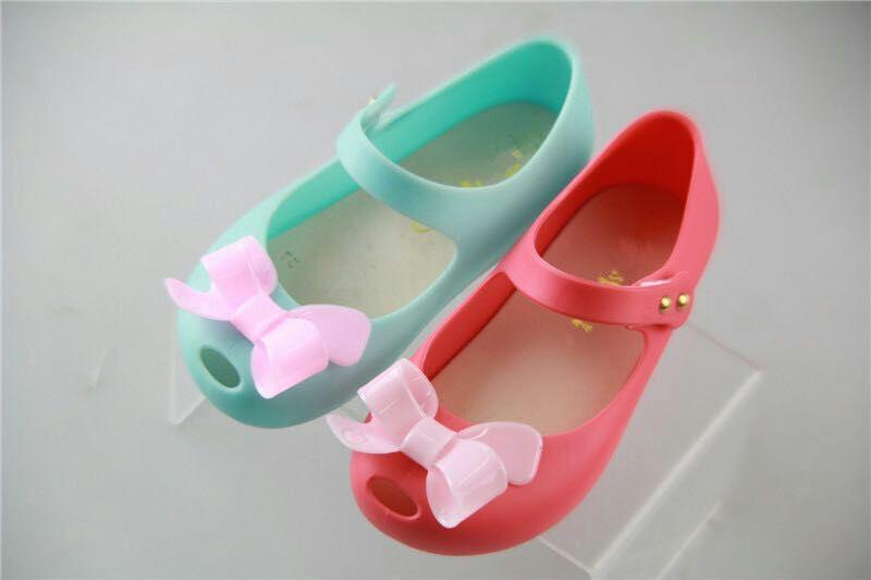 Wholesale Girls sandals Mini melissa jelly shoes bowknot PVC soft outsole children kids sandals baby Girl princess rain shoes