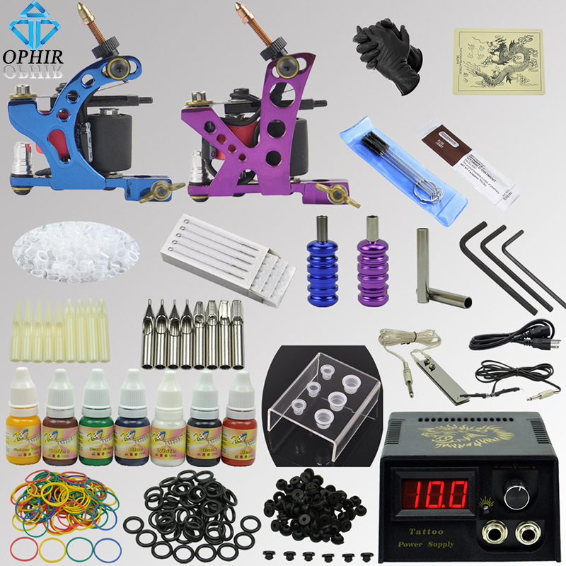 OPHIR Free Shipping Pro Complete 2 Machine Tattoo Kit Set Equiment Gun 7 Ink Needles_TA068