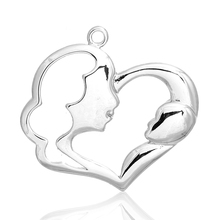 MJARTORIA 2PCs Hollow Heart Mon Child Pendant For Jewelry Making DIY Pendants For Handmade Love Mother's Day Gifts DIY Findings(China (Mainland))