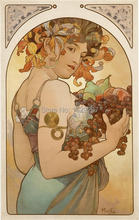 High quality,Fruit, 1897 ,Alphonse Mucha oil painting canvas,Hand-painted,Portrait Modern Art Reproduction,