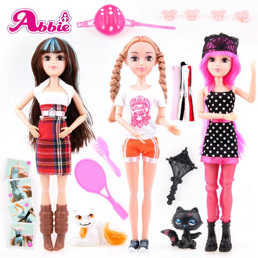 UCanaan Abbie Doll 3 pcs / Lot DIY Desigin Make Clothes Dolls Beautiful Doll Realistic Eyes Toy New Dolls For Girls Same Barbie<br><br>Aliexpress