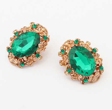 Europe Style Vintage Golden Plated Trendy Green Gem Stud Earrings Women Party Jewelry - Top Shop store