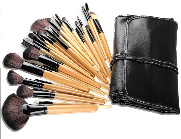 Professional Make up Tools goat hair kit of Cosmetic 32 PCS Makeup brushes Set Brush contain Black Leather Bag(China (Mainland))