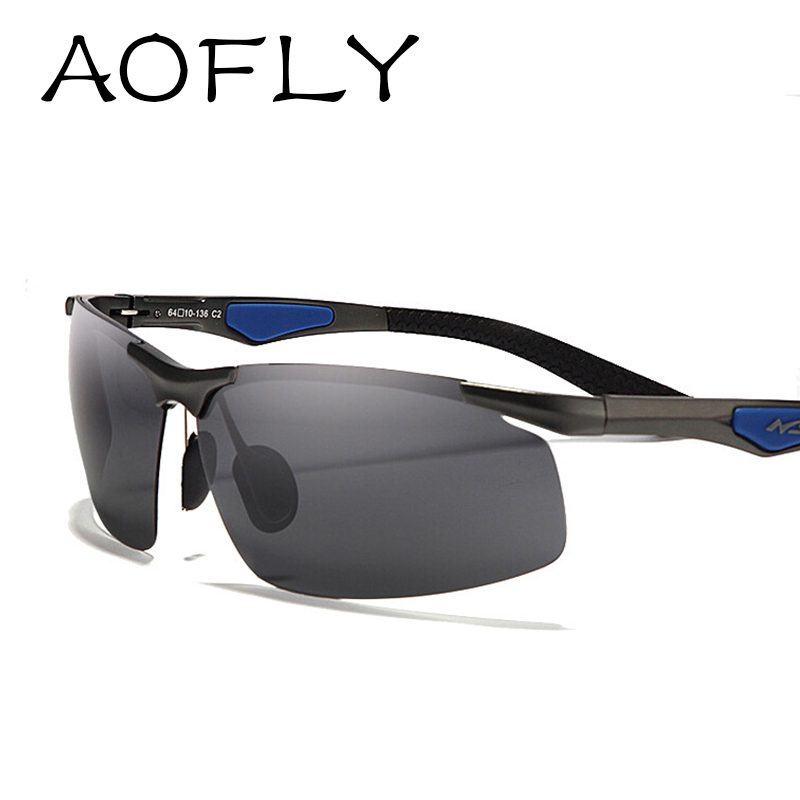 AOFLY Men's Aluminum magnesium frame polarized sunglasses driving mirror sunglasses sport fishing glasses male S1504(China (Mainland))