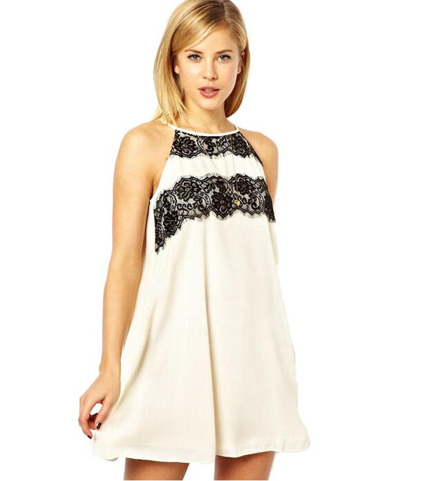 EAS Lady Women's Bump Color Round-neck Sleeveless Eyelash Lace Collar Back Slit Dress(China (Mainland))