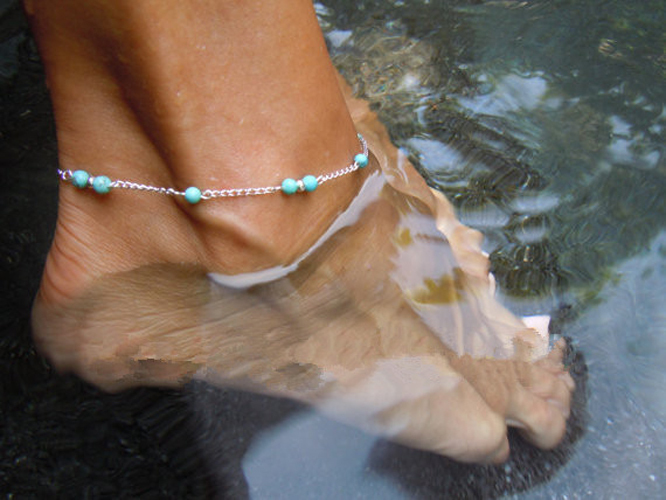 1pc Unique Nice Turquoise Beads Silver Chain Anklet Ankle Bracelet Foot Jewelry 2015 New free shipping(China (Mainland))