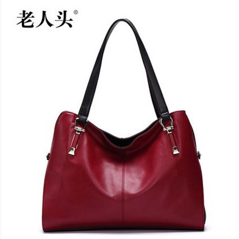 laorentou xiangbaoqijiandian Genuine leather handbag women bag 2016 cowhide fashion color block ladies women handbag