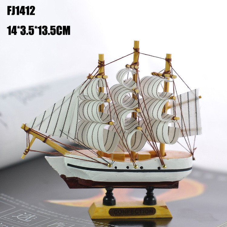 Wooden Ship Model <font><b>Home</b></font> <font><b>Decoration</b></font> New Mediterranean Style 14 CM Sailboat Model Birthday Gift Mediterranean Style Desk Ornaments