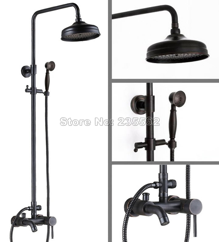 Black Oil Rubbed Bronze Retro Bathroom Tub Wall Mount Rain