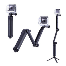 3 Way Collapsible Monopod For GoPro Accessories Extendable Tripod Selfie Stick for Go pro Hero 4 3 3+ 2 SJ4000 Action Camera
