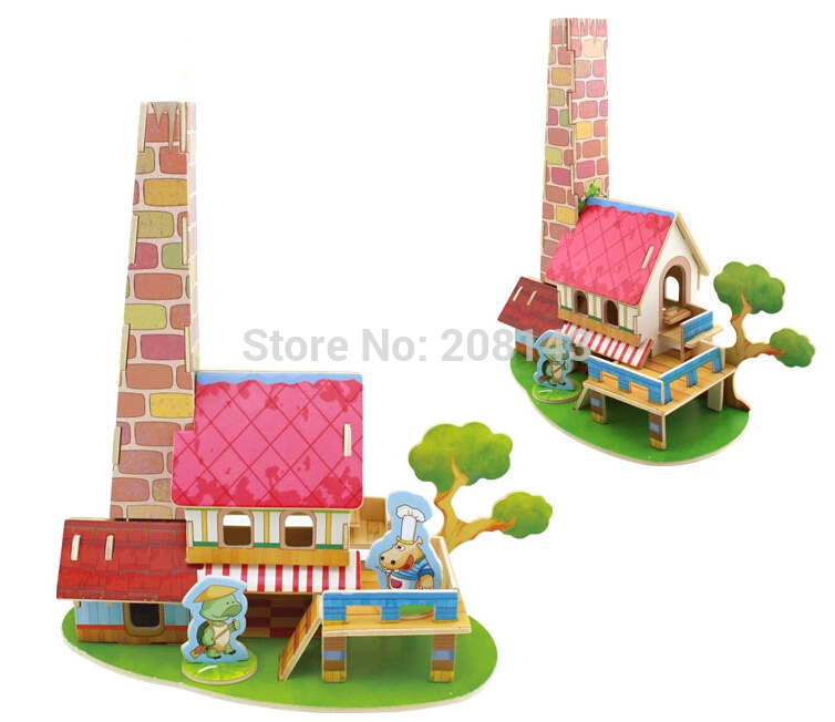 3D Wooden Puzzle Toy Restaurant Model 33 Pieces Great Wooden Toys for Children(China (Mainland))