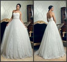 Amazing Strapless China Custom Made Amanda Novias Wedding Dress Online 2014(China (Mainland))