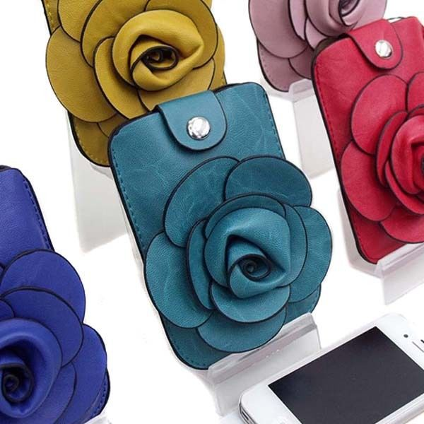 FD386 Flora Camellia Cosmetic Leather Cell Phone Purse Handbag Bag Pouch ~1PC~(China (Mainland))