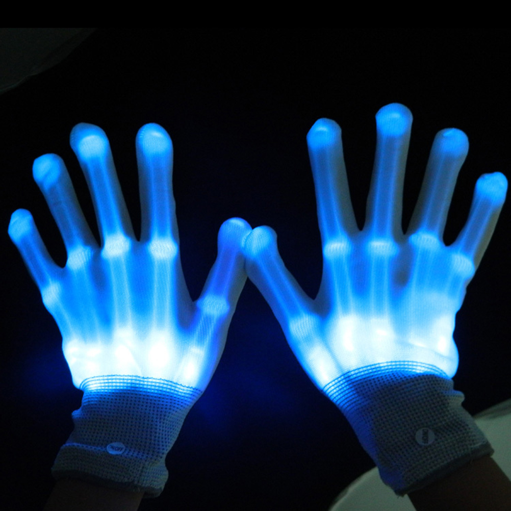 Pair of led gloves luminous flower finger light gloves party supplies dancing club props light up toys glowing unique gloves(China (Mainland))