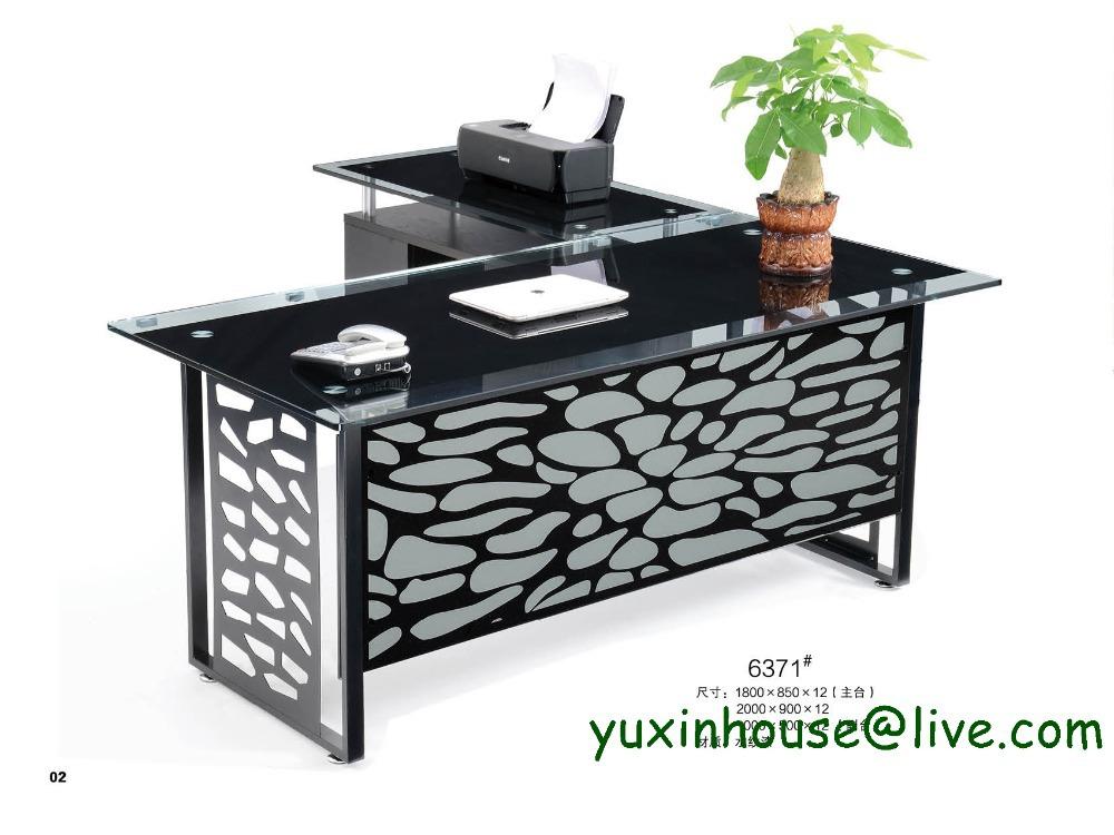 Hot Sale Tempered Glass Office Desk Boss Desk Table