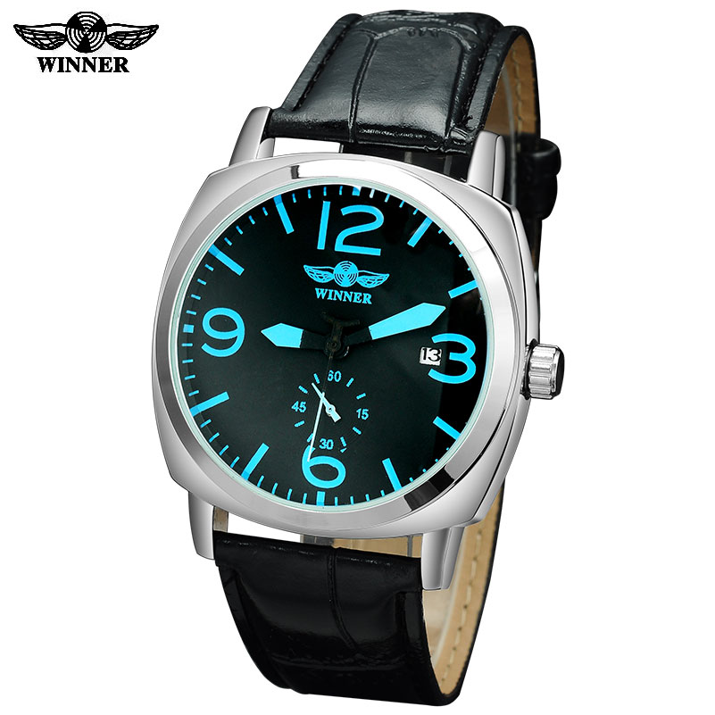 2016 Winner watches men luxury brand automatic self wind mechanical fashion casual date wristwatches artificial  leather strap<br><br>Aliexpress