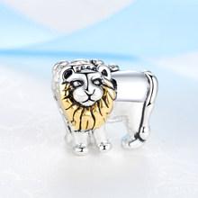 Abalorios chapados en plata Original lindo gato encanto dorado ajuste Pandora pulseras y collares mujeres Diy fabricación de joyas envío gratis(China)