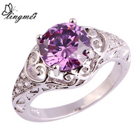lingmei New Party Junoesque Amethyst White Topaz  Silver Rings Size 6 7 8 9 10 11 Free Shipping Wholesale Women Rings Jewelry