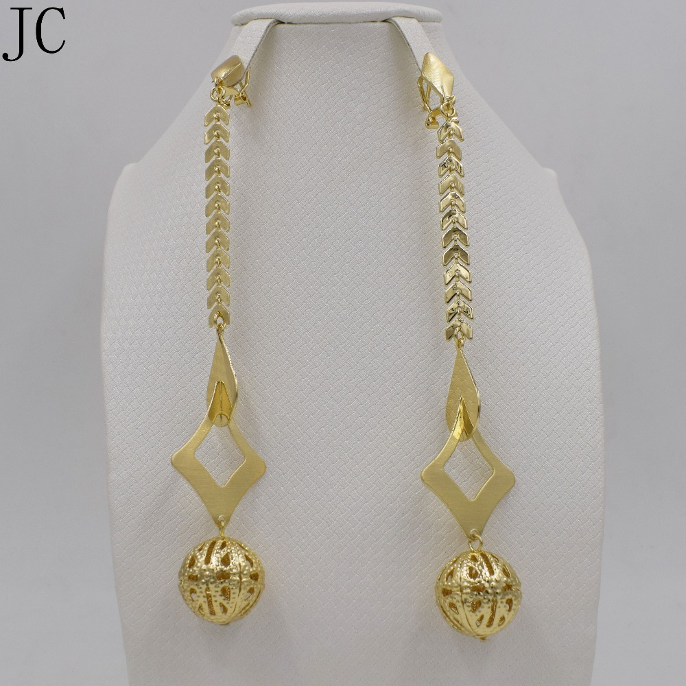 Lastest Clip On Earrings Women Jewelry 18k Gold Plated Earrings Long Earrings