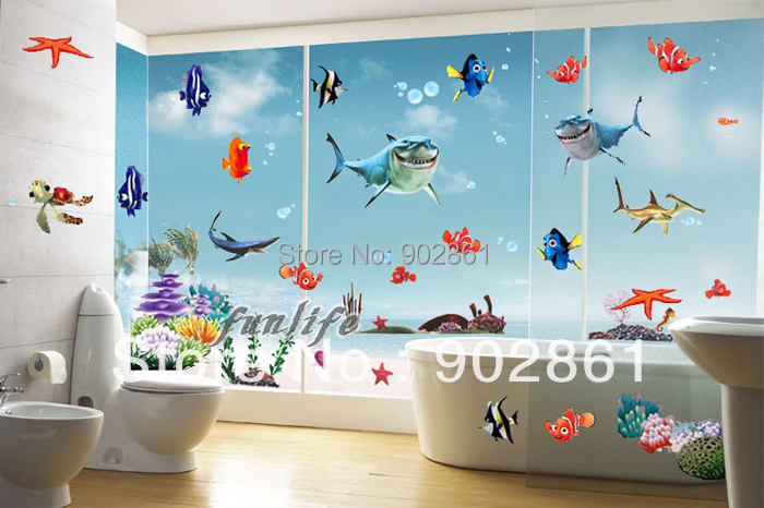 Funlife 350x250cm 140x100in Finding Nemo Under The Sea Shark Fish Wall Stic