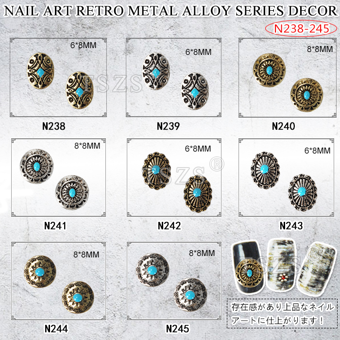 10pcs/lot Japanese type Nail Art retro metal alloy gold silver(China (Mainland))