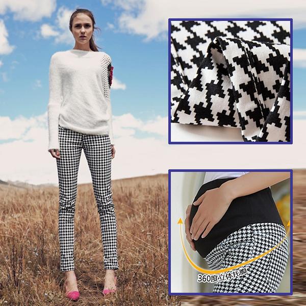 Мода хаундстут плед брюки для беременных поножи беременных брюки с высокой талией ...