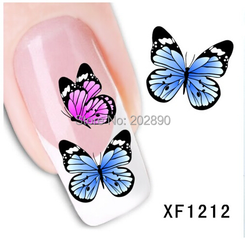1sheets Nail Art Water Transfer Stciker Decals Butterfly Tattoo Designs Stickers Decorations Watermark Tools for Polish XF1212(China (Mainland))