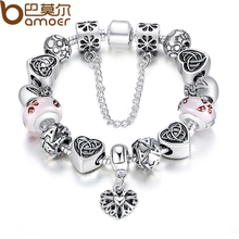 BAMOER TOP Promote European Appeal Bracelet For Girls With Coronary heart Letter Beads Pink Murao Glass Beads three Colours PA1825