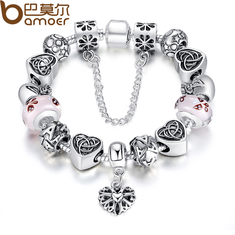 Bamoer TOP Sell European Style Charm Bracelet For Women With Heart Letter Beads Pink Murao Glass Beads 3 Colors PA1825(China (Mainland))
