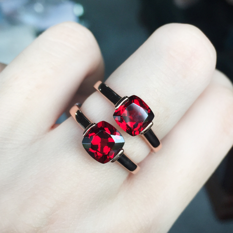Trendy design silver brand ring real 925 Solid Sterling Silver jewelry natural red garnet gemestone engagement gif for woman(China (Mainland))