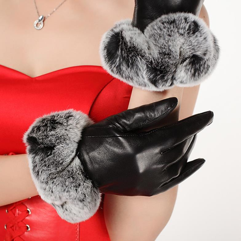 Ms. 2013 new leather gloves Rex burrs lovely warm winter casual fashion sheepskin - ZDFURS factory store