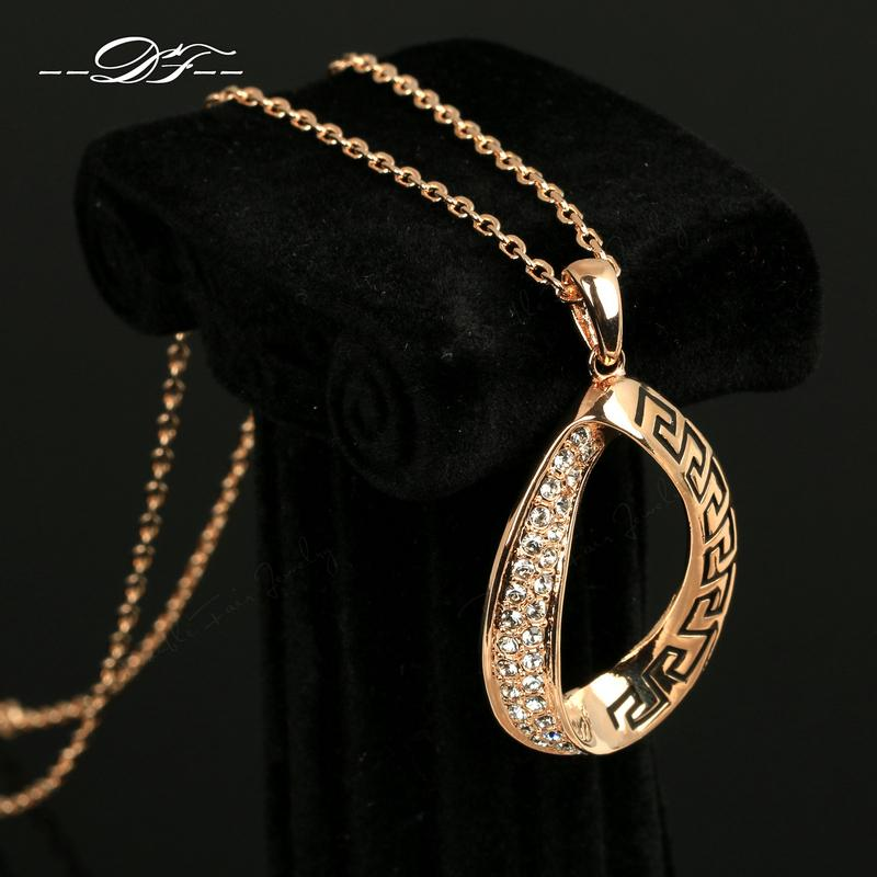 Vintage CZ Diamond Necklaces Pendants 18K Rose Gold Plated Fashion Brand Rhinestone Jewellery Jewelry For Women