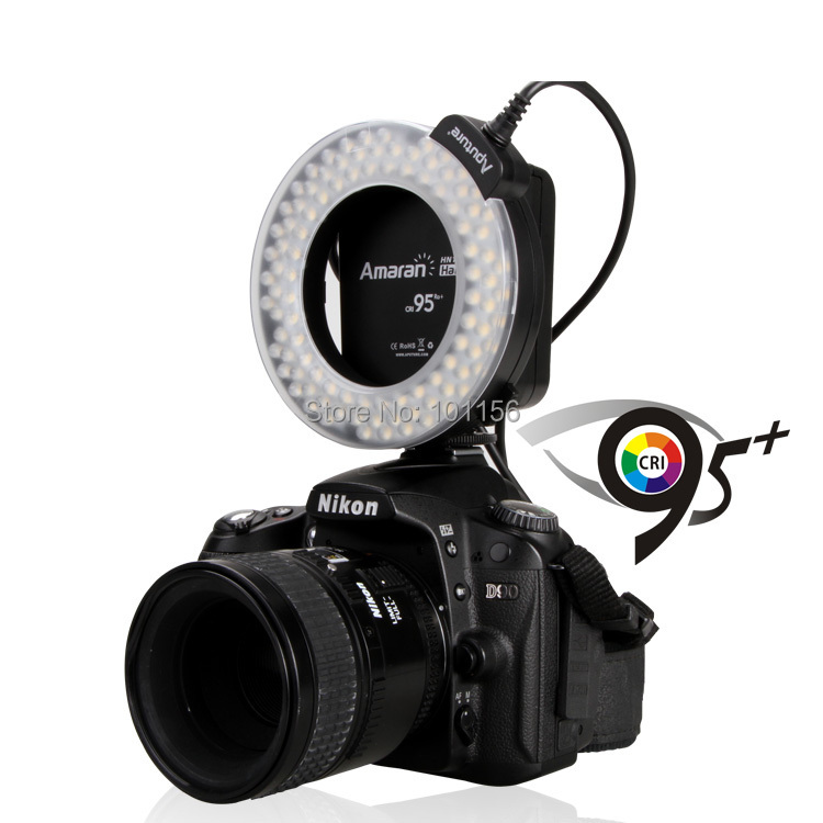 Wholesale Aputure HN100 CRI 95+ Amaran Halo LED Ring Flash light For Nikon D7100 D7000 D5200 D5100 D800E D800 D700 D600 D90(China (Mainland))