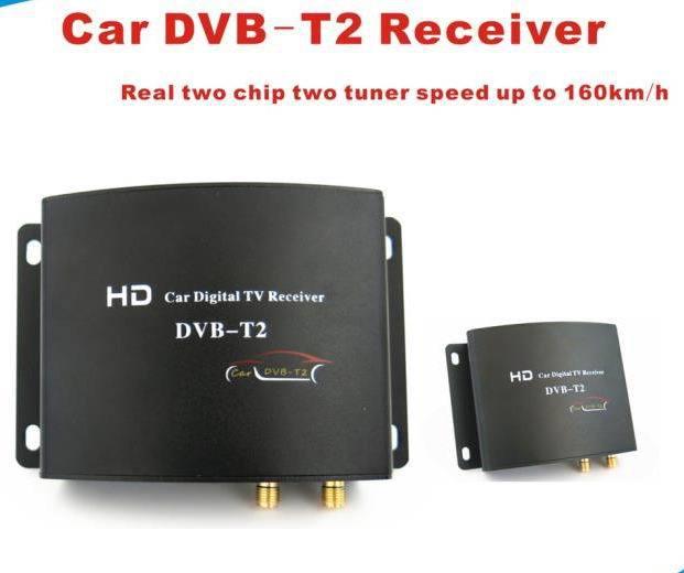 160-180KM/H HD Dual Tuner DVB-T2 Car Digital TV Receiver(China (Mainland))