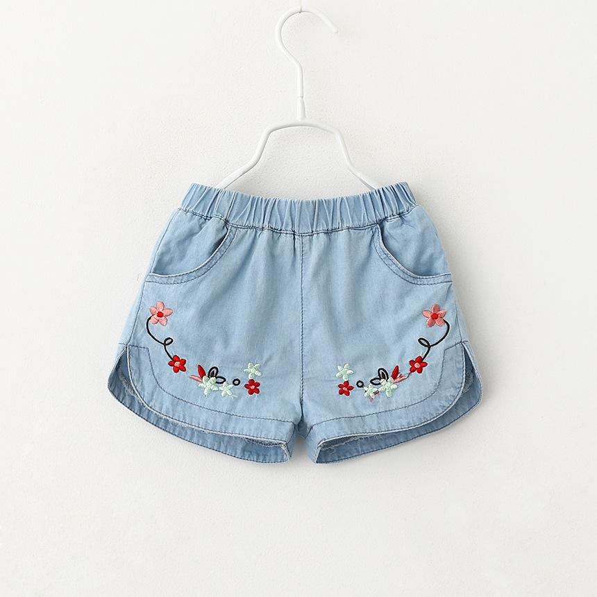 2016 New Kids Girls Embroider Shorts Jeans Asymmetric Fashion Kids Girls Spring Summer Casual Pants Vintage Western Pants<br><br>Aliexpress