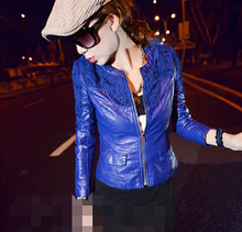 Autumn Spring women washable leather coat jacket blue red Fashion street motocycle lace slim outerwear hollow out overcoat B2246(China (Mainland))