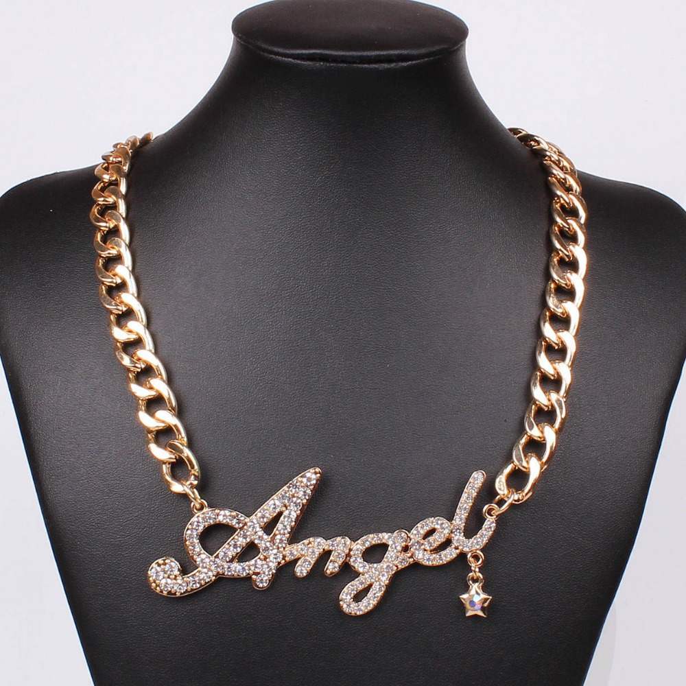 New arrival punk style popular design angel letter gold plated statement pendant necklace Design and style fashion jewelry